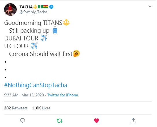 Coronavirus: Davido Cancels Tour, Tacha Says Coronavirus Can Wait!!