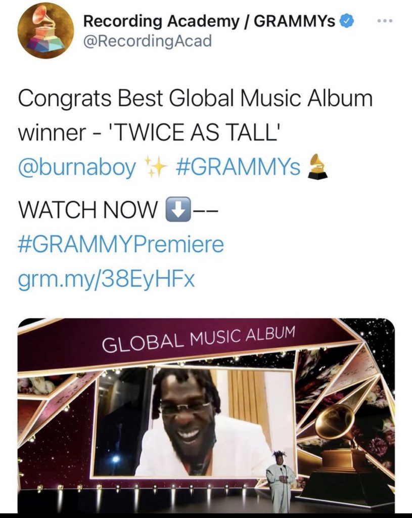 #GrammyAwards2021: Burna Boy Finally Wins Grammy For Best Global Music Album